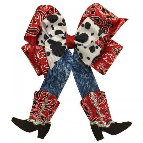 red black jean jeans paisley print cow western cowboy cowgirl bow hair bow hairbow barrette clip clippie child toddler girls grosgrain