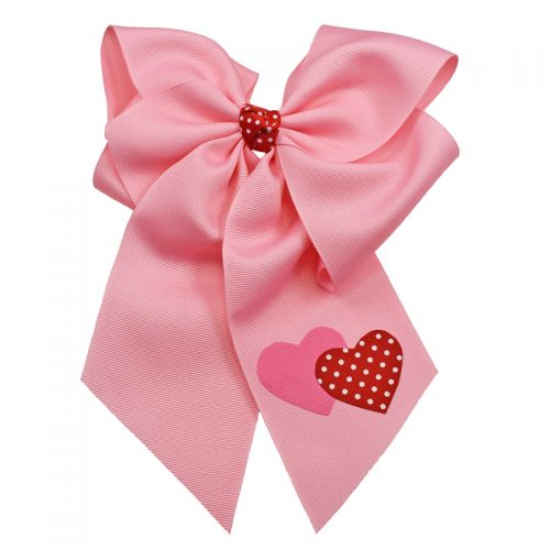 pink red white polka dot heart hearts hairbow hair bow fluff grosgrain toddler girls child valentine's day