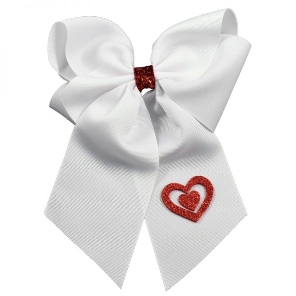 glitter heart hearts valentine's day bow summer hair bow hairbow bows hair bow girls toddler child barrette grosgrain red white