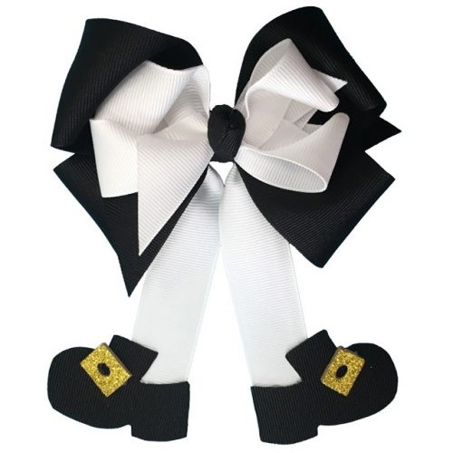 black white fluff pilgrim thanksgiving hairbow hair bow glitter buckle shoe shoes girl girls toddler child