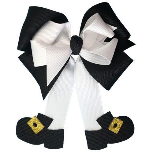 black white fluff pilgrim thanksgiving hairbow hair bow glitter buckle shoe shoes girl girls toddler child