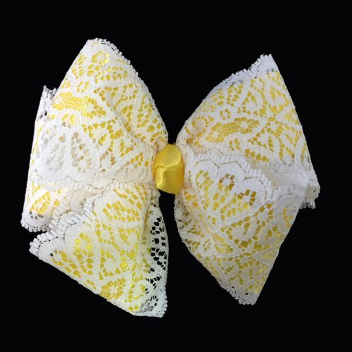 lace loop bow hairbow hair satin daffodil yellow