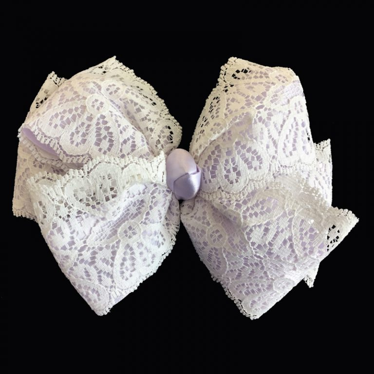 lace loop bow hairbow hair satin purple light orchid
