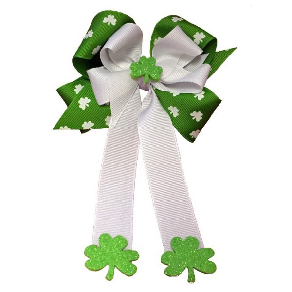 apple green white shamrock St. Patty's Patrick's Day glitter grosgrain fluff hair bow hairbow child girls girl toddler